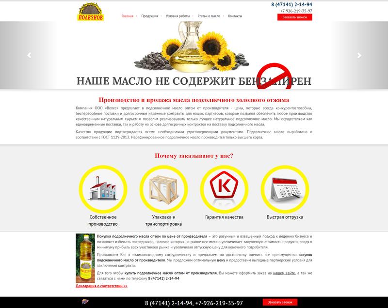 Создание сайта для компании ООО «Велес»